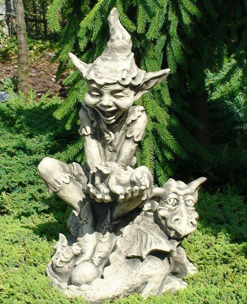 Steinfiguren Garten garten steinfigur mit gnom dudley gartentraum de