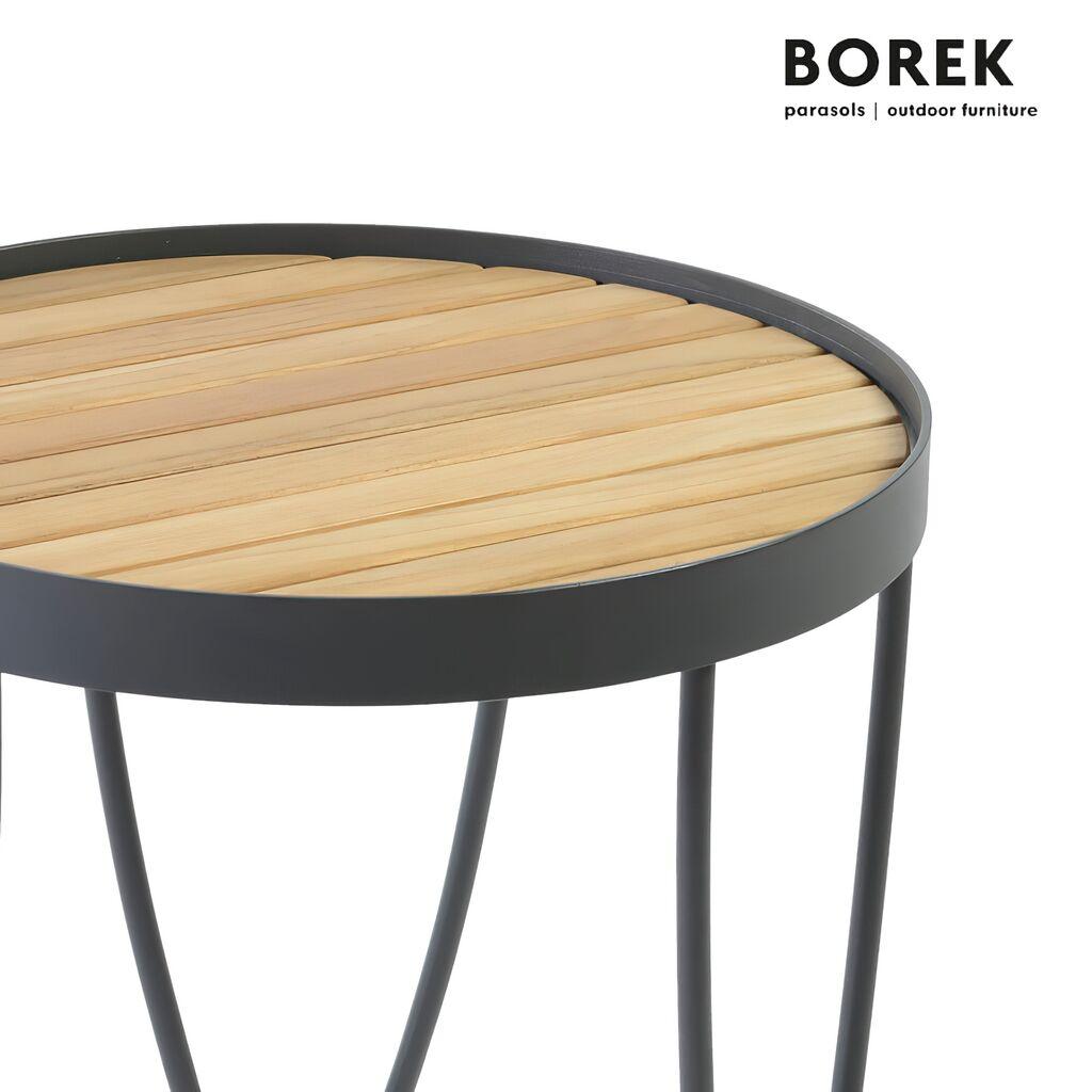Kleiner Beistelltisch für den Garten Borek Edelstahl & Holz rund Pesaro Beistelltisch