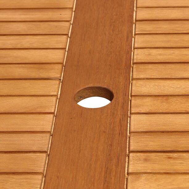Balkontisch Mit Schirmloch Affordable Sam Akazienholz Gartentisch