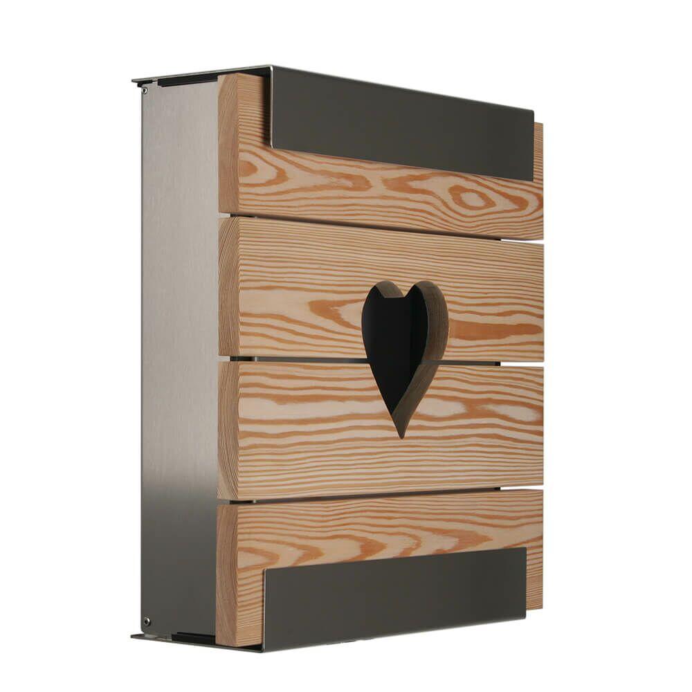 Edelstahl Briefkasten Mit Holz Front Herz Gartentraumde