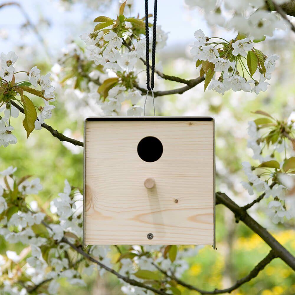 design vogel nistkasten aus holz edelstahl. Black Bedroom Furniture Sets. Home Design Ideas