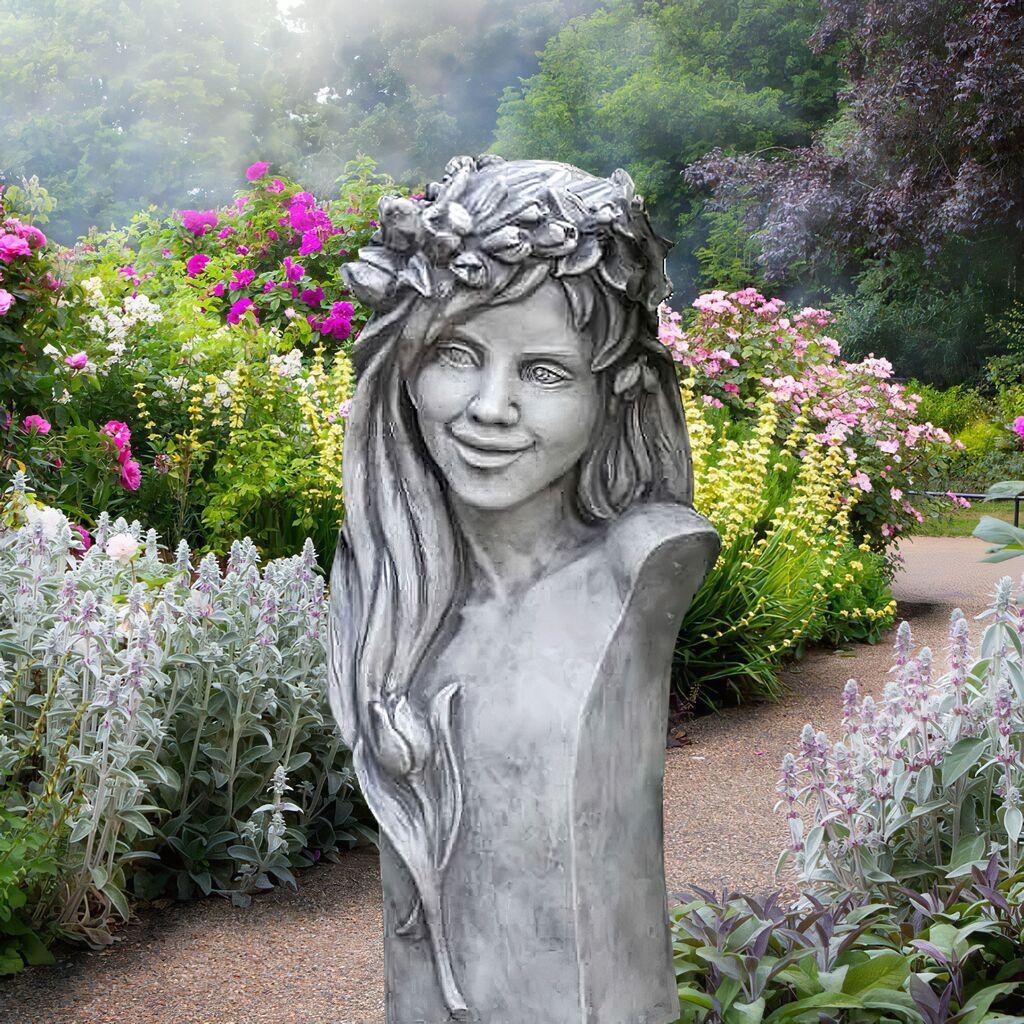 Schöne Frauenbüste aus Stein - florales Design - Merina / Antikgrau