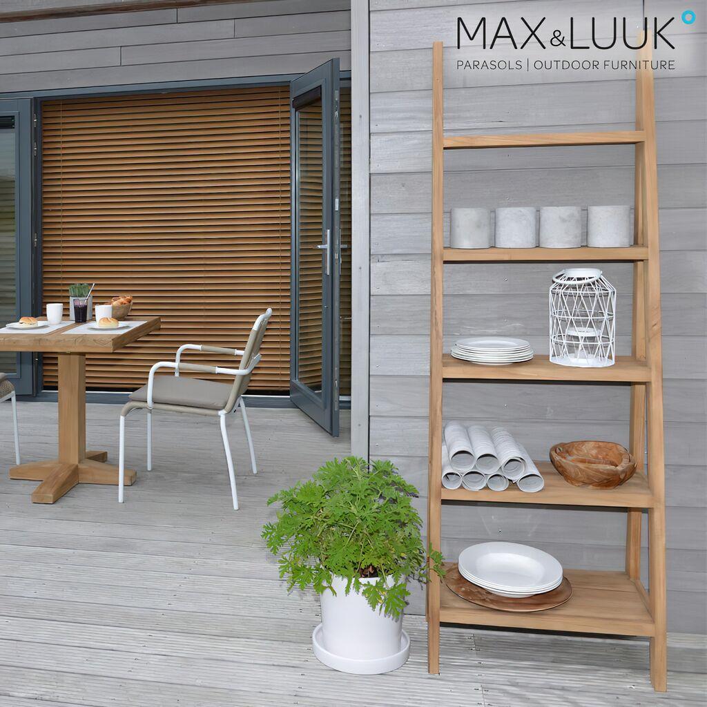 regal aus teakholz f r den garten. Black Bedroom Furniture Sets. Home Design Ideas