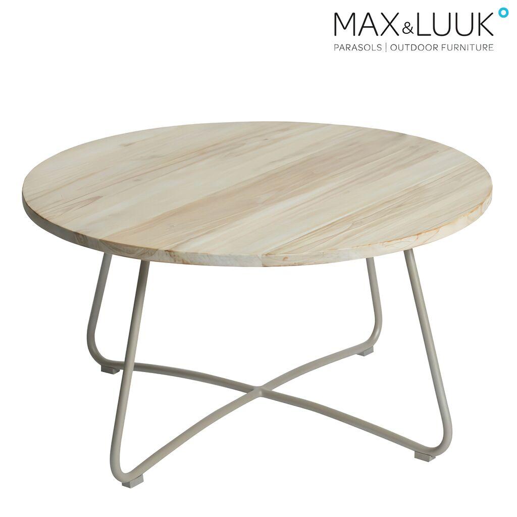 Outdoor Couchtisch Aus Aluminium Teakholz 80cm Rund Max Luuk Lily Loungetisch