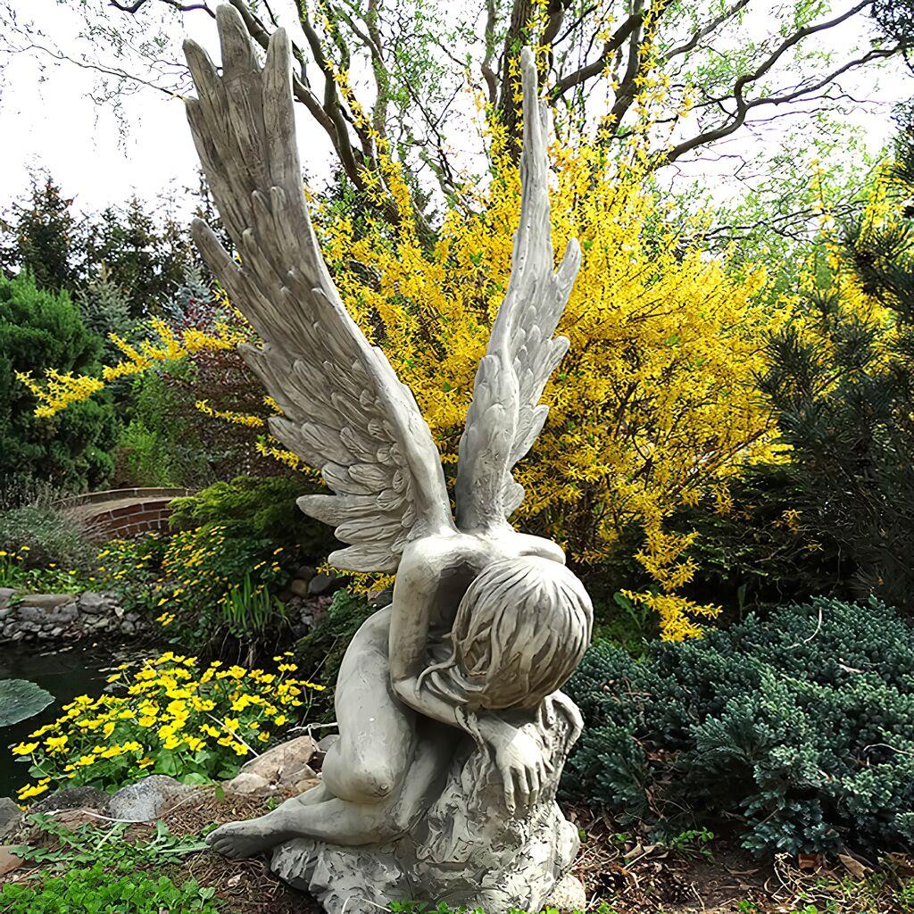 Gartenskulptur rivenna engel aus stein for Gartenfiguren aus steinguss
