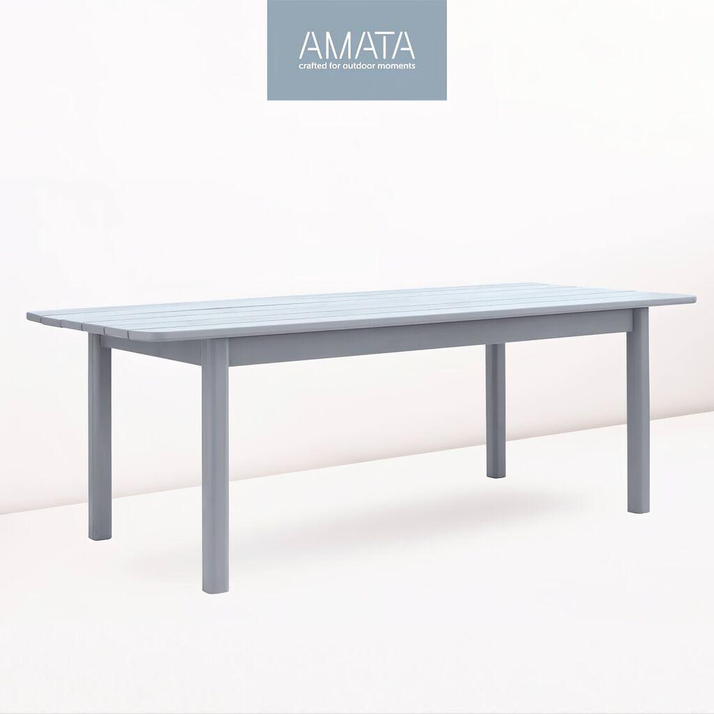 Großer Garten Holztisch in grau - 36x36cm - Kiefernholz - Amata Tisch 36