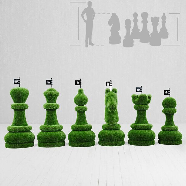 32-teiliges Schachfiguren Set - Topiary - GFK & Kunstrasen - Schach Set