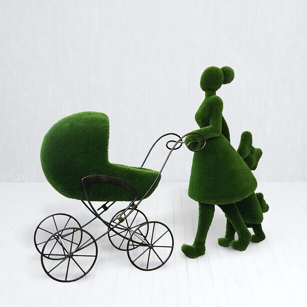Gartenfigur Mutter mit Kind & Kinderwagen - Topiary - Finnja