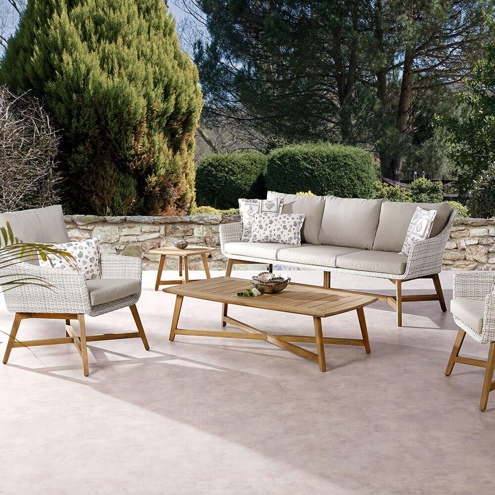 5 Sitzer Gartenlounge Vimen Mit Holz Gartentraumde