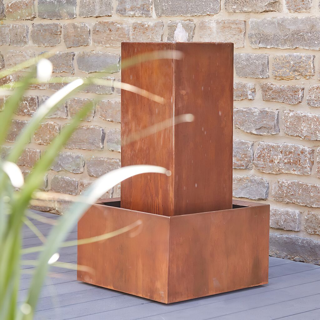 Eckiger Gartenbrunnen aus Rost Metall - mit LED & Pumpe - Mostoles