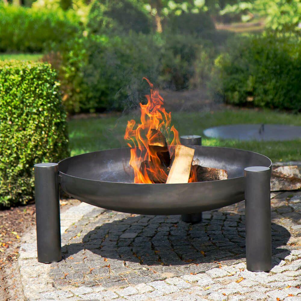 Stahl Feuerschale mit zylinderförmigen Beinen   für Garten und Terrasse    Ogan Feuerschale