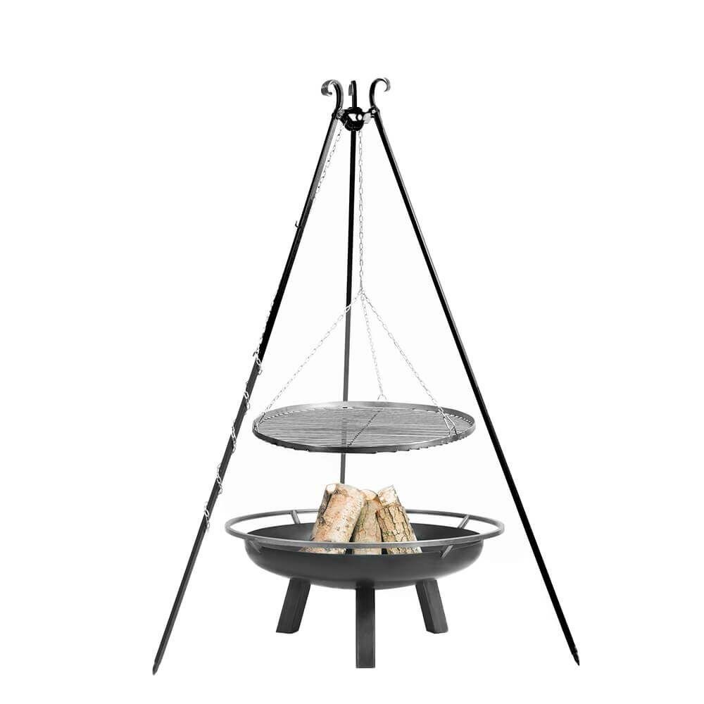 Dreibein Grill - pulverbeschichtet - mit Grillrost und Stahl Feuerschale - Sanor Gartengrill / 70cm / ohne Kurbel