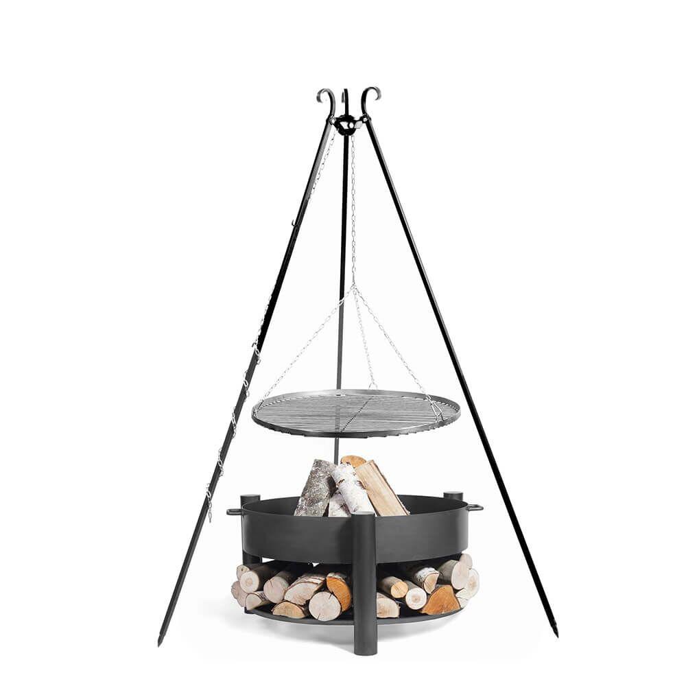 Schwenkgrill mit Feuerschale als Feuerstelle für draußen - Aprilios Gartengrill / 80cm / ohne Kurbel