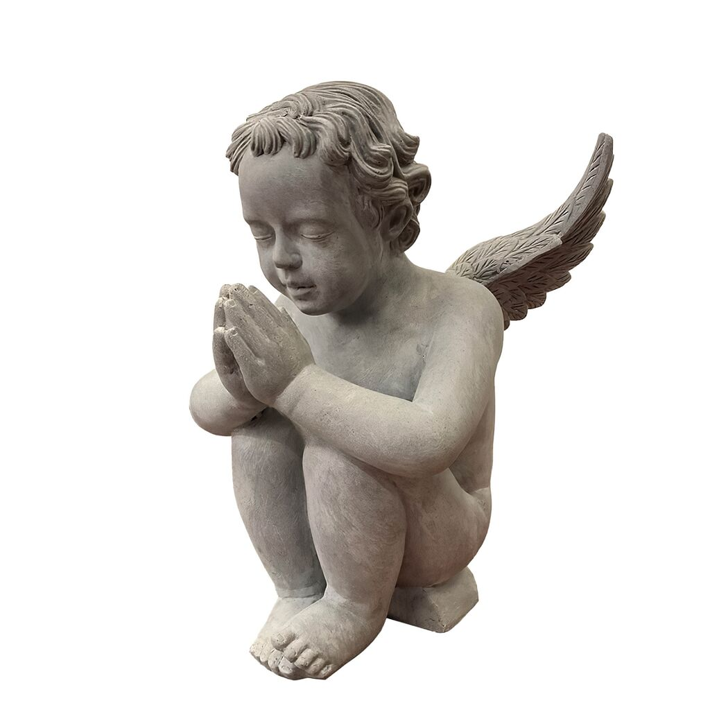 Engel in Zement-Optik mit Sockel - Polystone - Pace