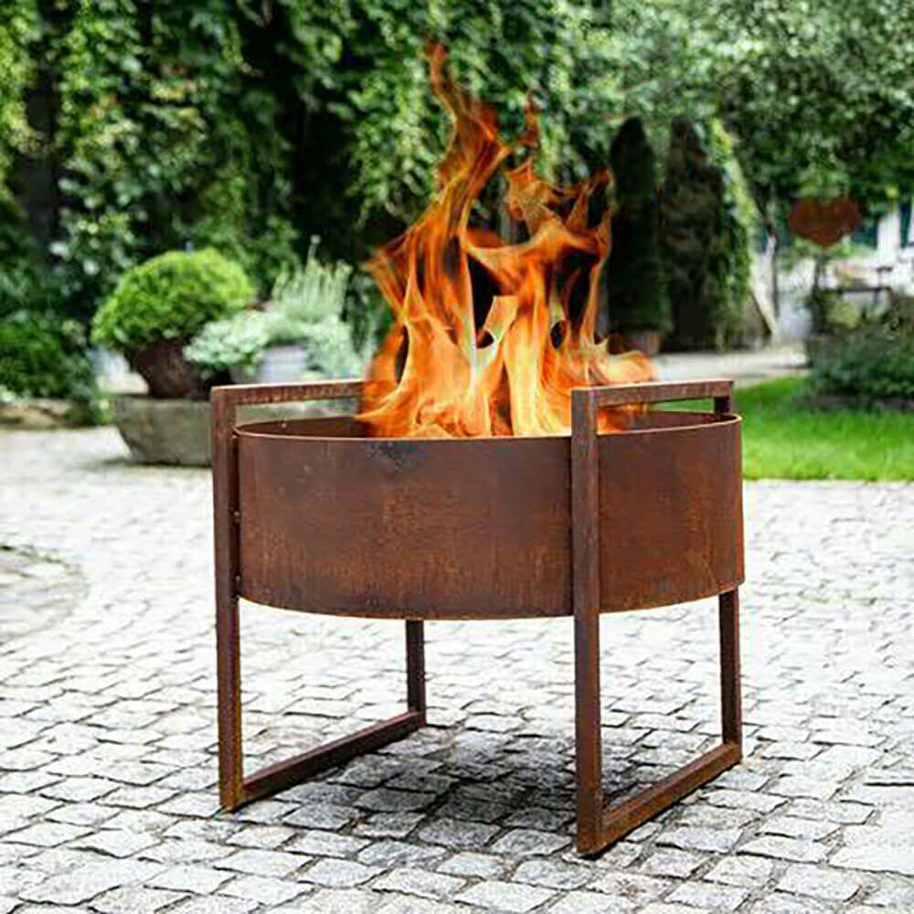 Feuerschale auf Füßen aus Rost Metall - Lycian