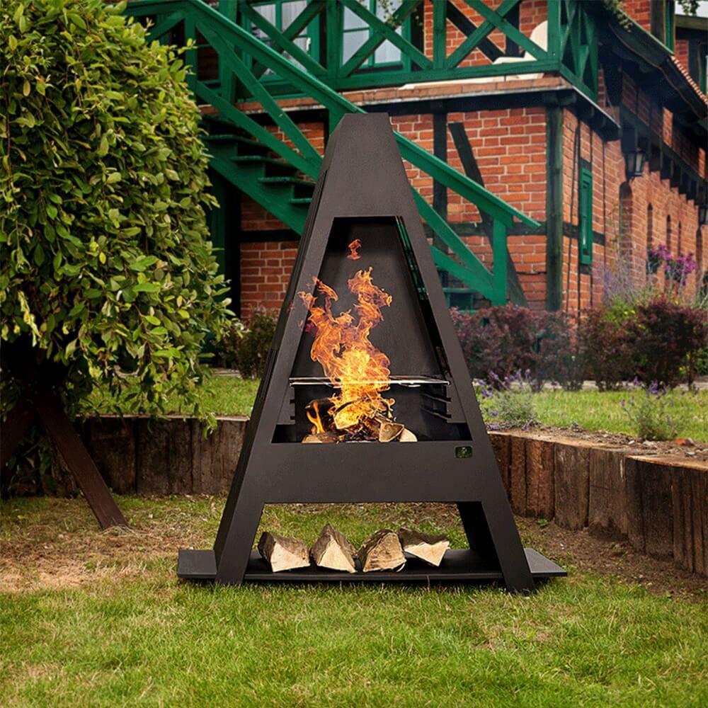 Dreieckiger Gartengrill mit Ablage für Holz in schwarz - Ustka Gartengrill
