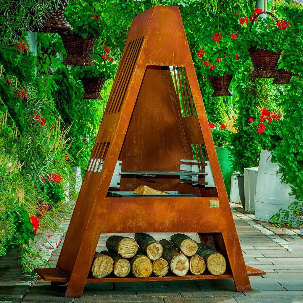 Moderner Gartenkamin aus Cortenstahl mit Grillrost - Wolin Gartengrill