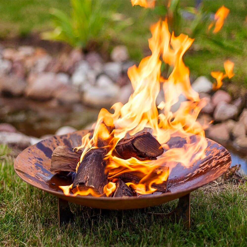 Klassische Feuerschale aus Stahl für den Garten - rund - Zator Feuerschale / Schwarz