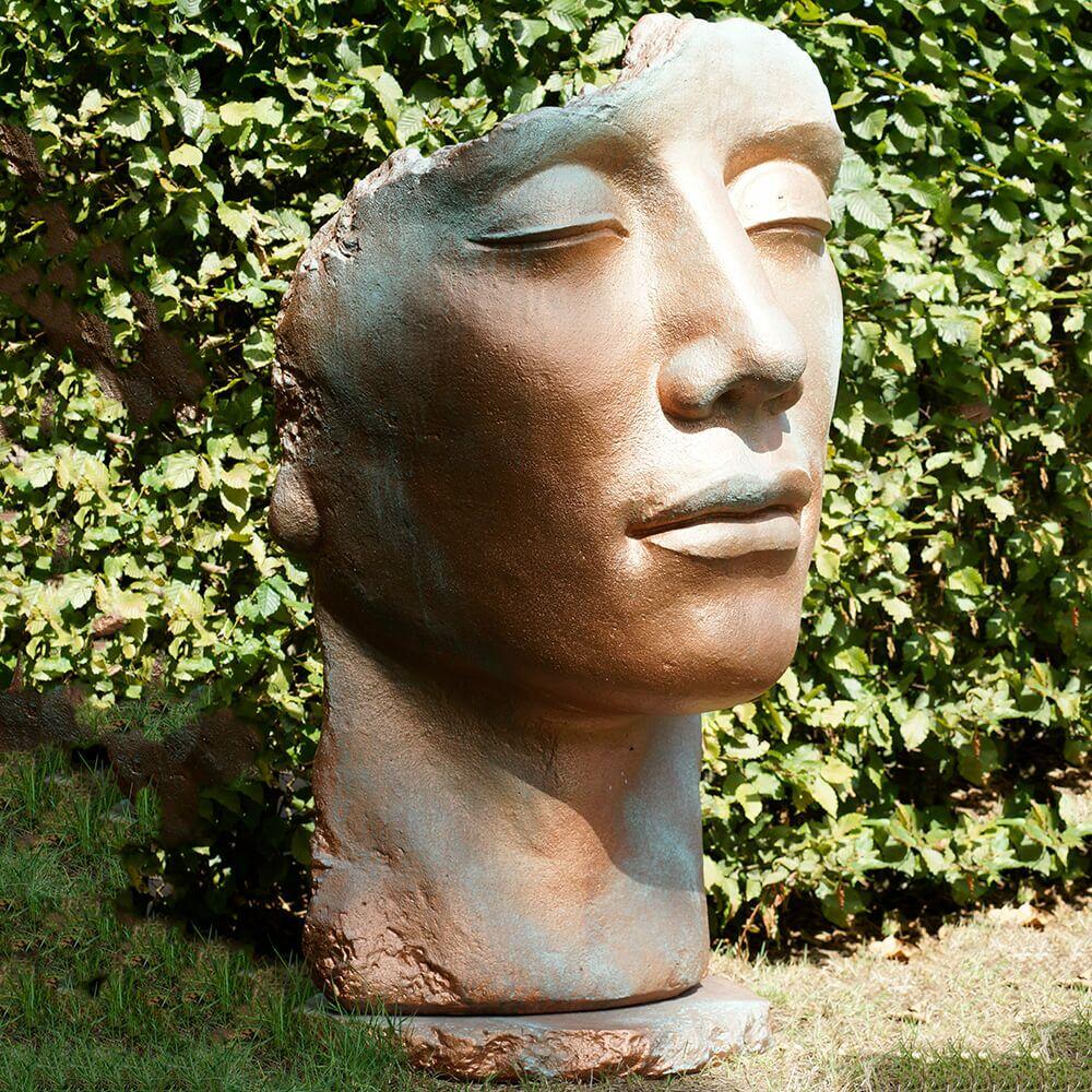 Klassische Gartenplastik - Büste aus Stein - Mann - Sculptura Masculum / Kupfer