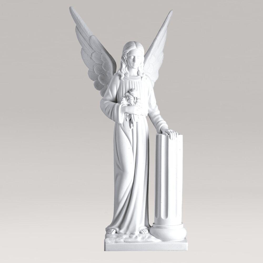Große Engelsstatue für den Garten mit Blumen - Marmorguss - Engel mit Säule