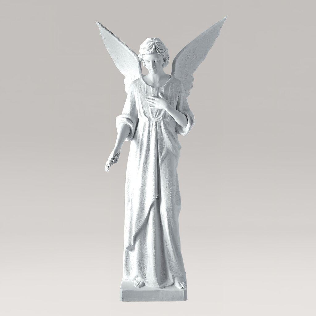Lebensgroße Gartenstatue Engel neben Säule - Marmorguss - Angelo Custode