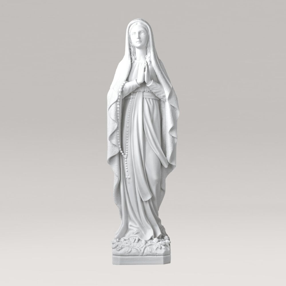 Gartenskulptur Jungfrau Maria im Gebet aus Marmorguss - Maria Catena / 52x15x12cm (HxBxT)