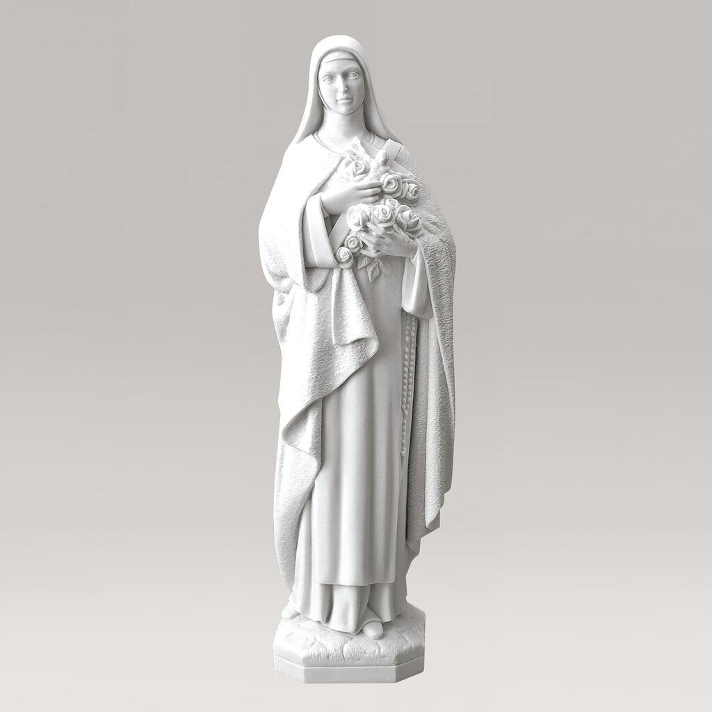 Heilige Maria Garten statue mit Blumen - Marmorguss - Madonna Stella / 30x9x10cm (HxBxT)