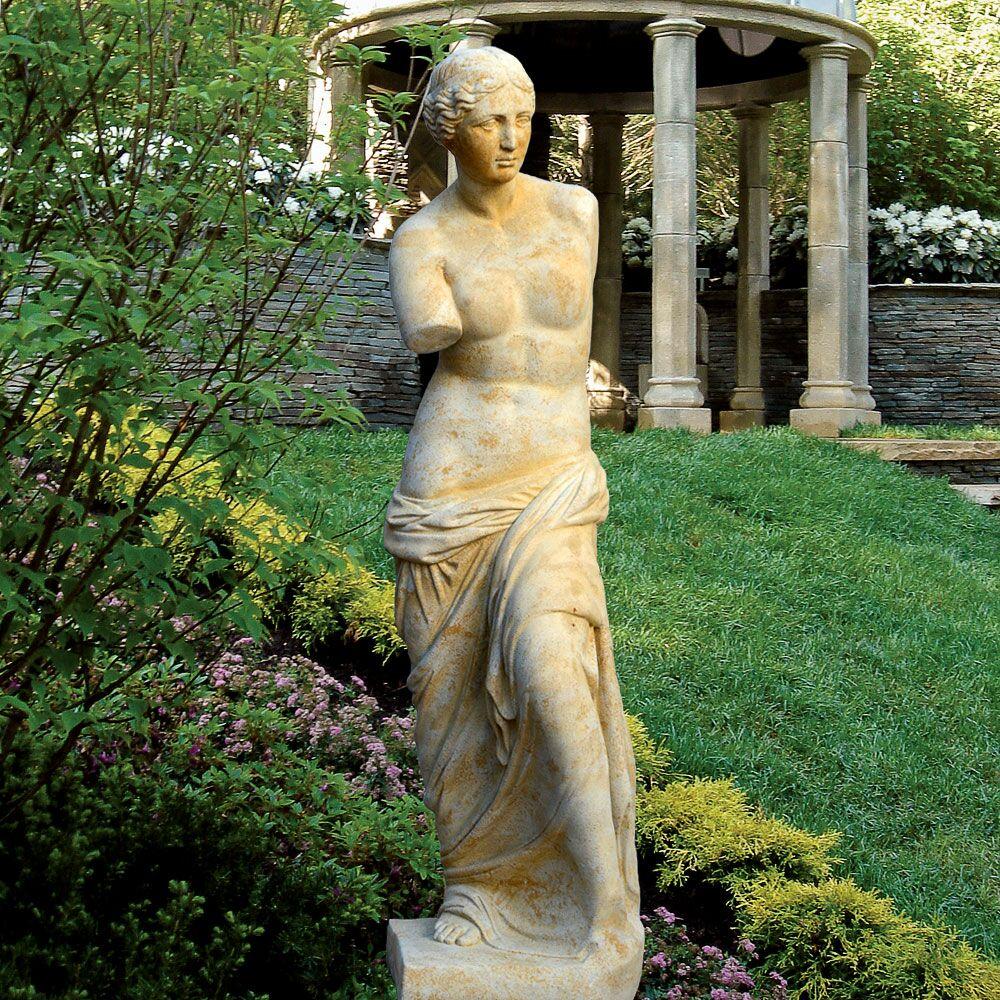 Griechische Garten Stein Skulptur - Venus / Antikgrau