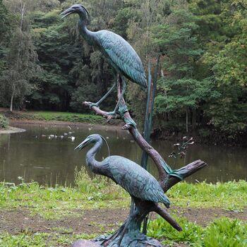 wertvolle bronze gartenfiguren mit reiher fischreiher