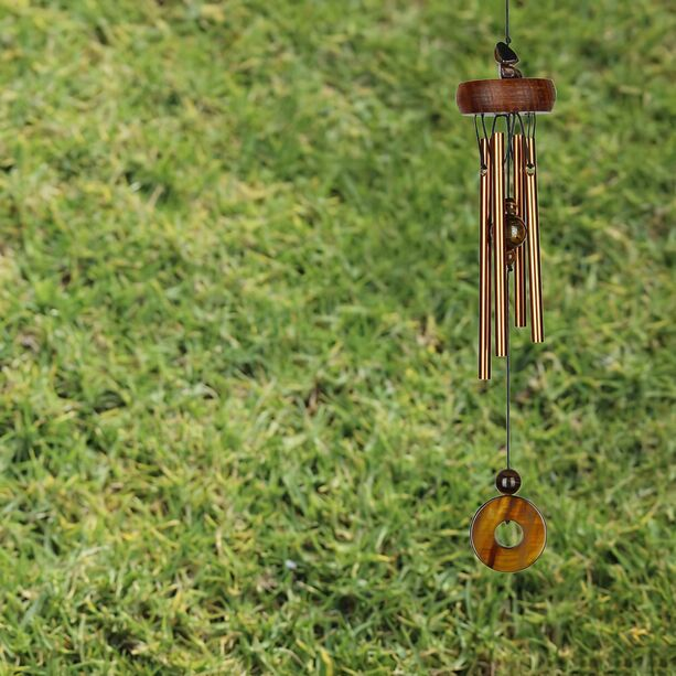 Hänge Windspiel Metall Woodstock Precious Stones Chimes - Tigers Eye
