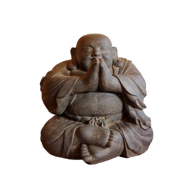 kunstvoller lachender buddha aus stein. Black Bedroom Furniture Sets. Home Design Ideas