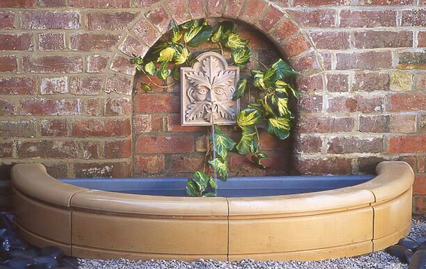 garten brunnen steinbecken sandstein • gartentraum.de, Hause und Garten