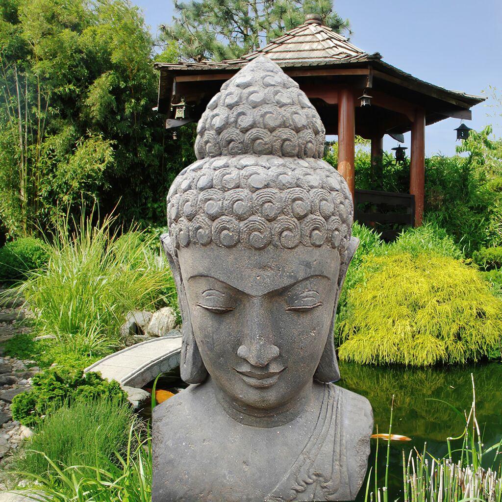 Deko buddha kopf aus lavastein shama for Steinfigur buddha garten