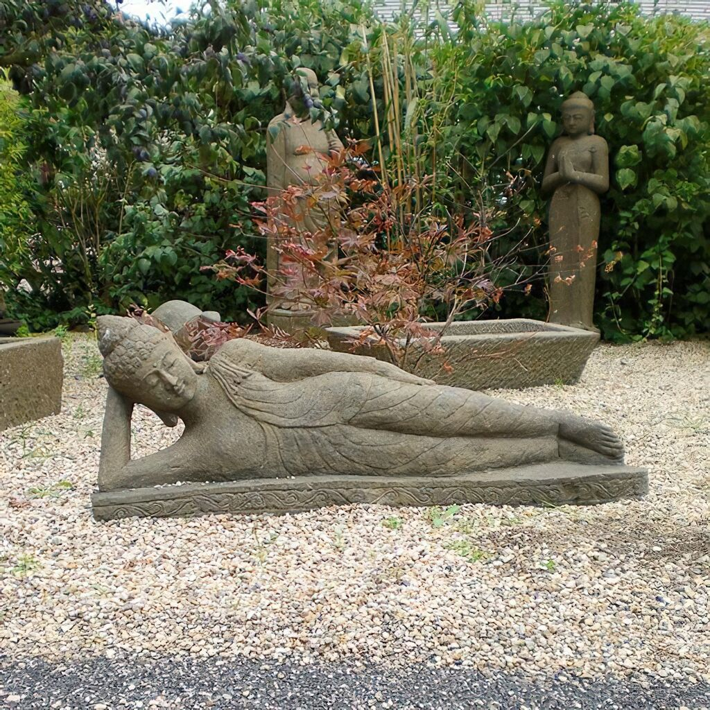 gro e liegende buddha figur aus stein nandini. Black Bedroom Furniture Sets. Home Design Ideas