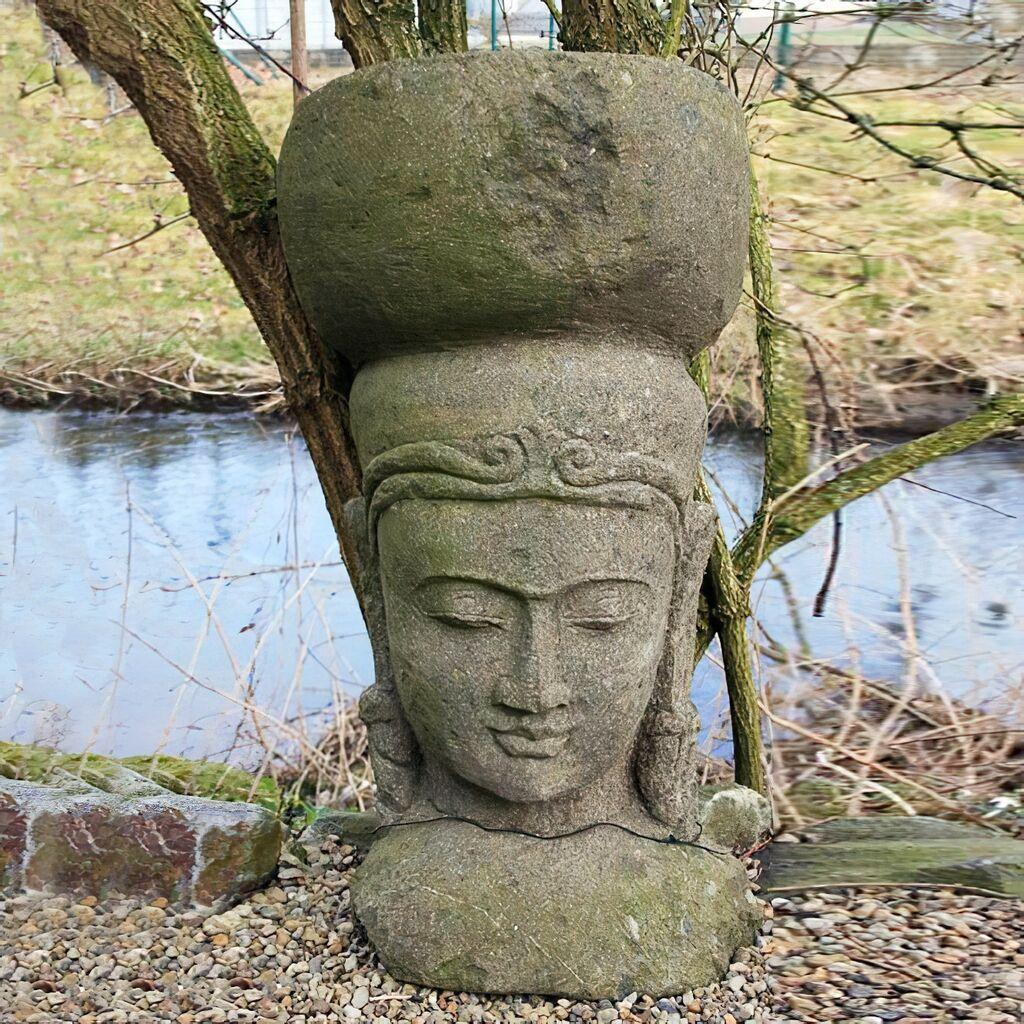 Asiatische gartendeko steinkopf aus naturstein for Sale gartendeko