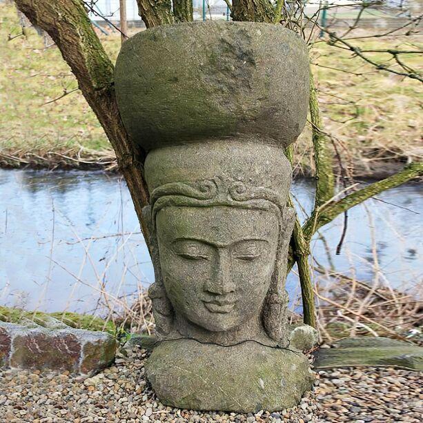 Asiatischer garten deko  Asiatische Gartendeko - Steinkopf aus Naturstein • Gartentraum.de