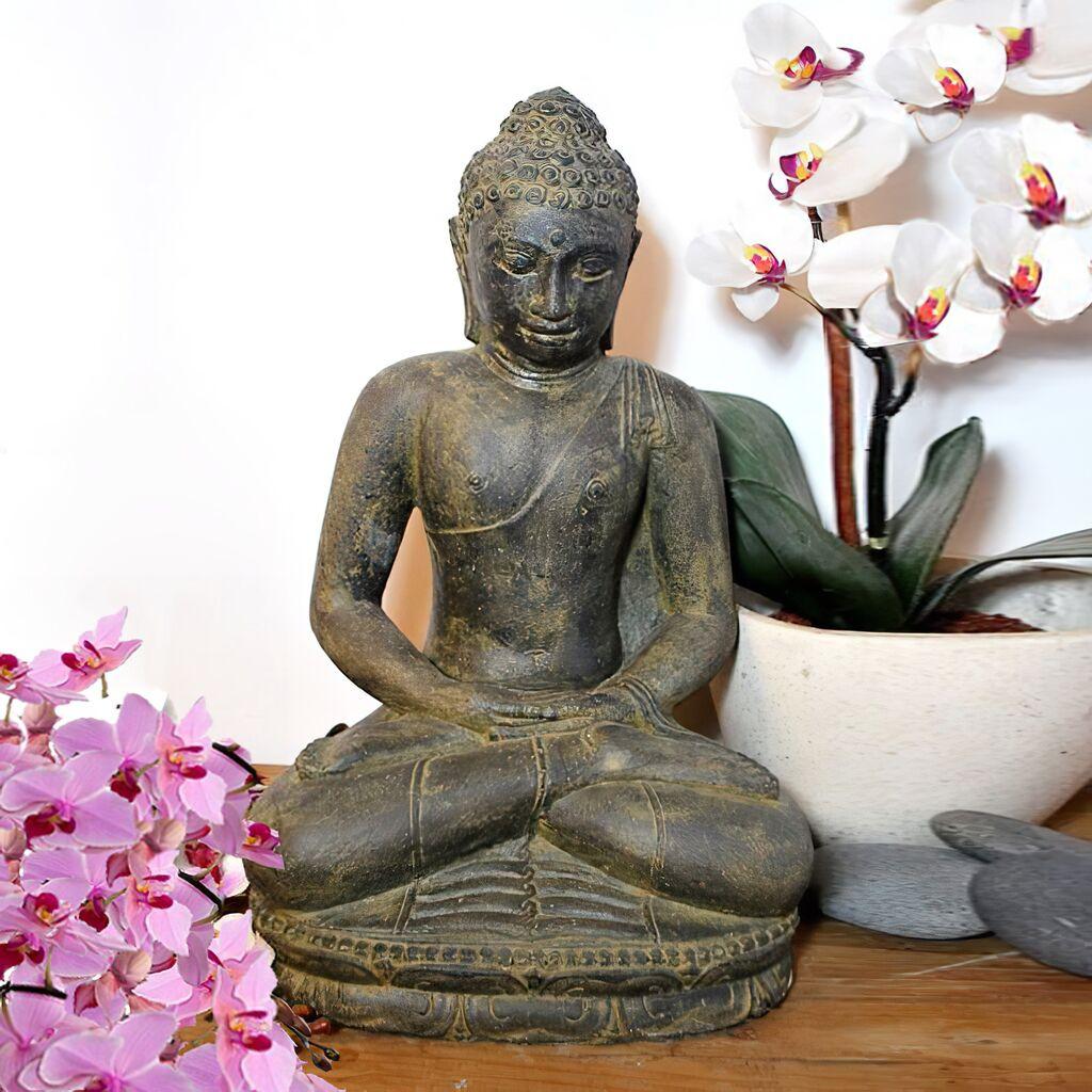 Steinfigur Buddha Sitzend Aus Antik Steinguss Bundashra