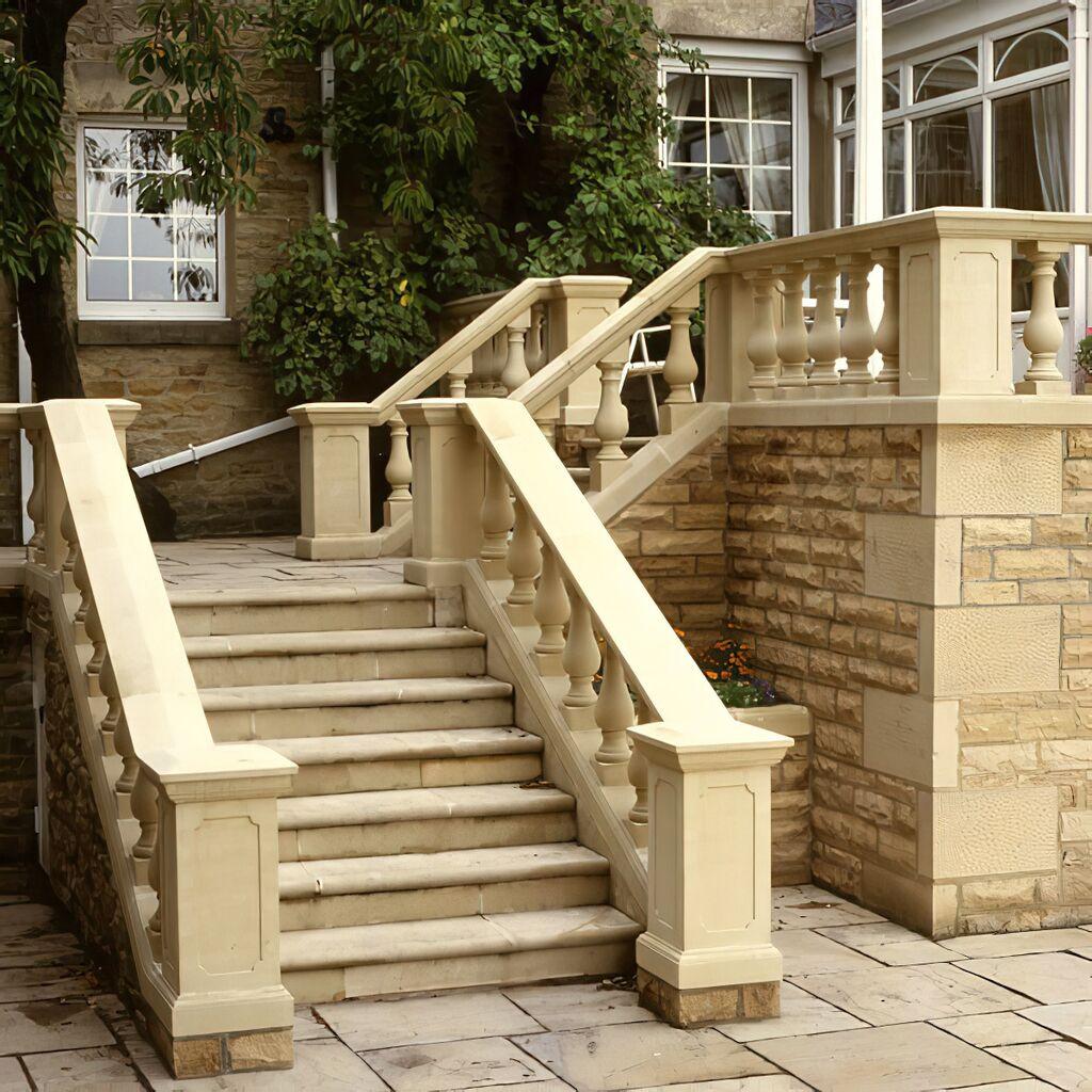Treppengeländer Beton mit leicht gebogener Deckplatte - De Lado / Terrakotta